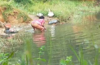 Desi aunty irrigation