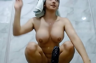 Big Titty Indian Aunty Not Getting Equal Dig up Cums Hard in Shower