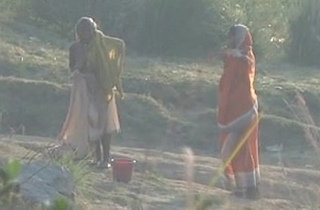 Desi granny changing token bath on river