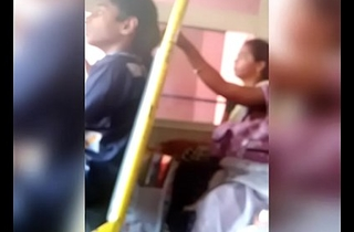 Telugu aunty navel show in bus