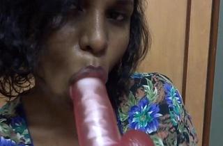 indian babe lily gagging on dildo masturbation