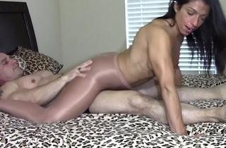 Orgasm by grinding dick in pantyhose