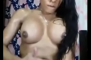 Indian tranny masturbating and cumming on herself