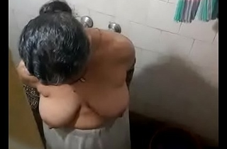 Latest Best big titty Indian aunty undressing at bathroom