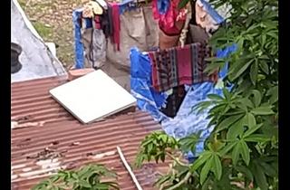Indian girl flushing outdoor