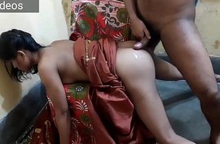 I fuck Indian cute benefactress Desi ass, she wearing a traditional brown saree, I cum outside her ass