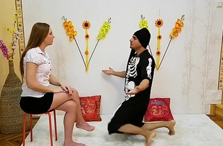 Teen girl visits Guru's Ashram to succeed in blessings for someone's skin interview